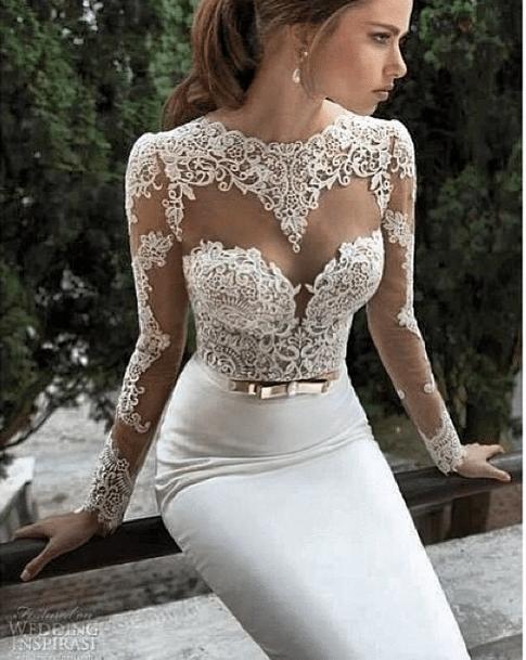 beyaz dantelli abiye modeli