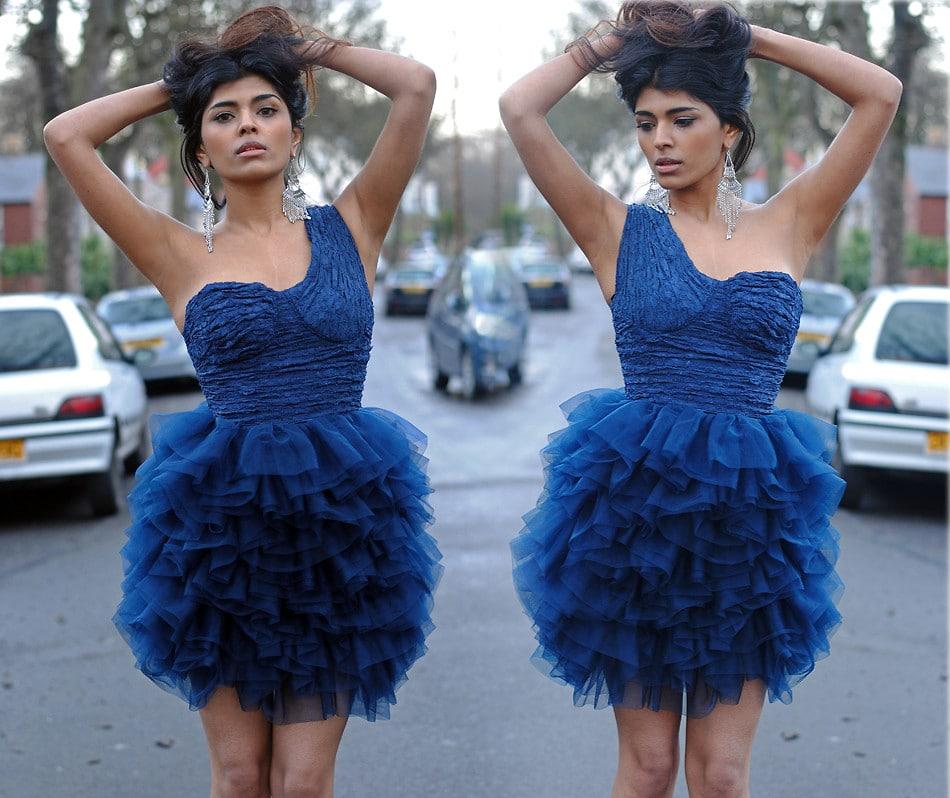 mavi balo elbisesi