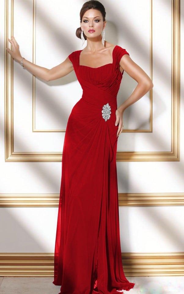 uzun kırmızı abiye modelleri