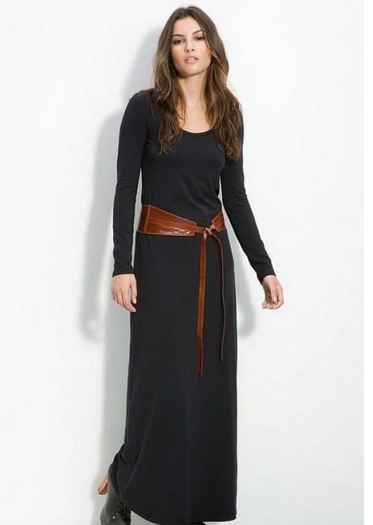 uzun siyah spor elbise modeli