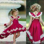Kız çocuk abiye elbise 6 yaş, önü kısa arkası uzun