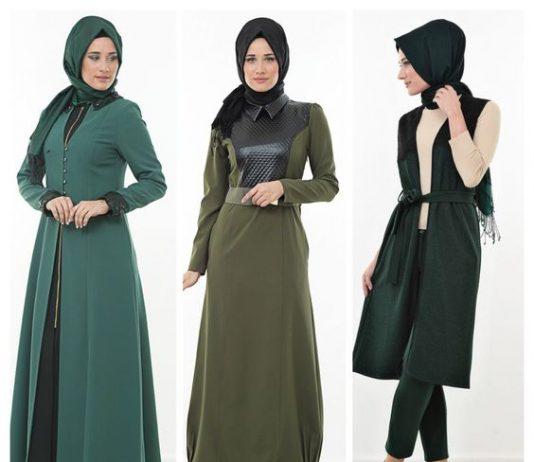 Haki yeşil elbise kombinleri tesettür