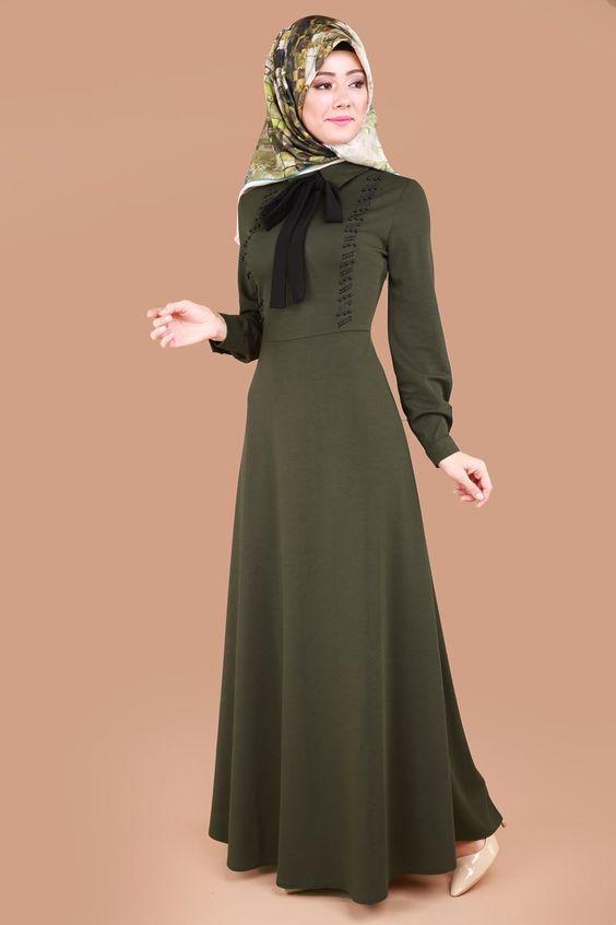 haki yeşil elbise