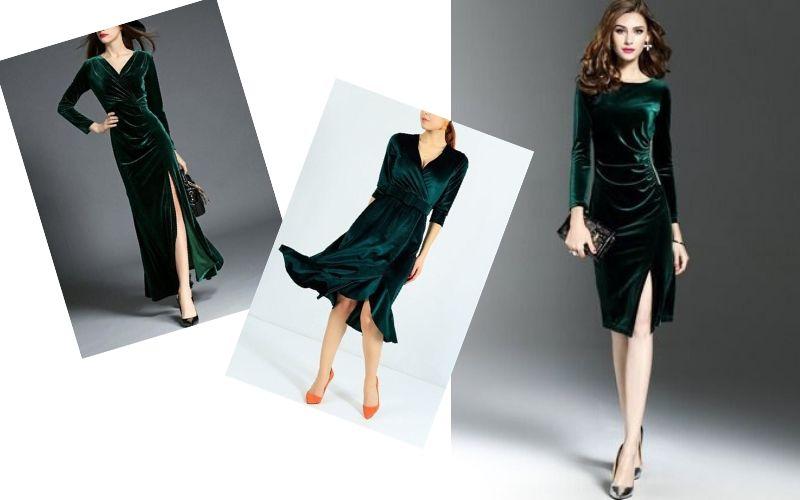 Yeşil kadife elbise altına ayakkabı