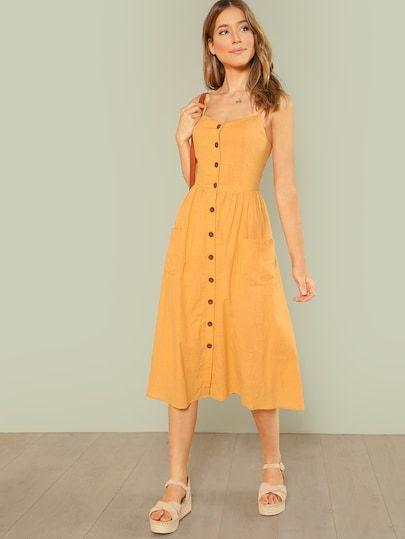 Hardal Sarısı Elbise Altına Ayakkabı