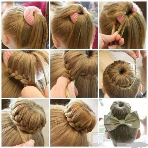 Çocuk saç modelleri-örgülü topuz modeli