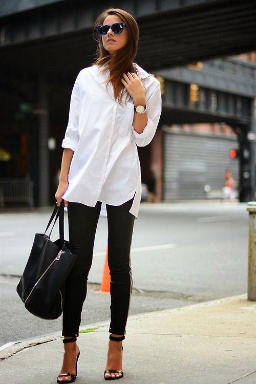 Siyah pantolon beyaz gömlek kombinleri bayan