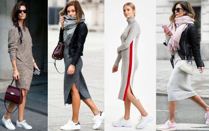 Triko Elbise Spor Ayakkabı Kombinleri