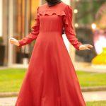 Kiremit rengi elbise modeli