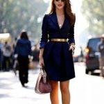 Lacivert Mini Elbise Kombin