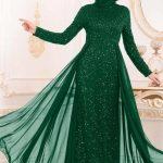 Yeşil abiye elbise altına ayakkabı