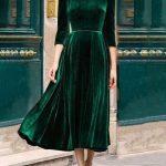 Yeşil kadife elbise