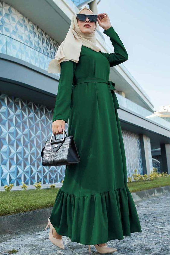 Yeşil tesettür elbise modelleri