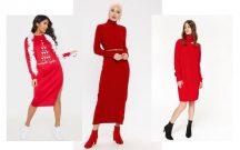 Kırmızı Triko Elbise Kombinleri