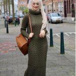 haki yeşili tesettür elbise