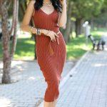 Yazlık elbise kombinleri taba rengi