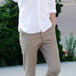 Keten pantolon beyaz gömlek kombini erkek