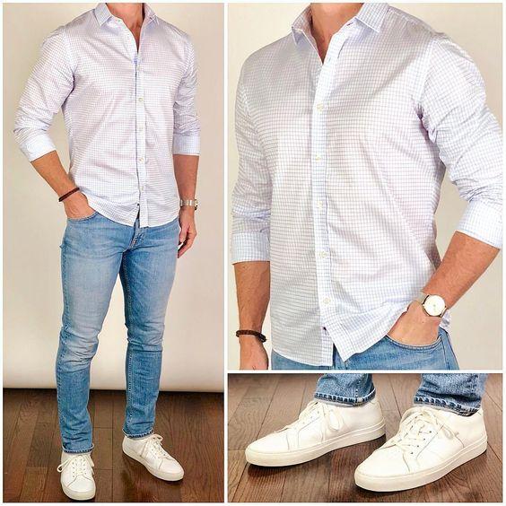 Kot pantolon beyaz gömlek kombinleri erkek