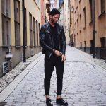 Siyah pantolon deri ceket kombinleri erkek