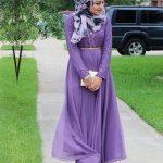 Lila elbise kombinleri tesettür