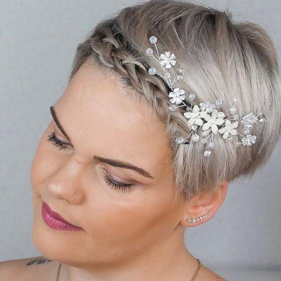 Genç düğün saç modelleri kısa saç