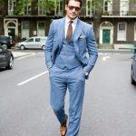 Mavi takım elbise kombinleri erkek