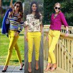 Sarı pantolon kombini