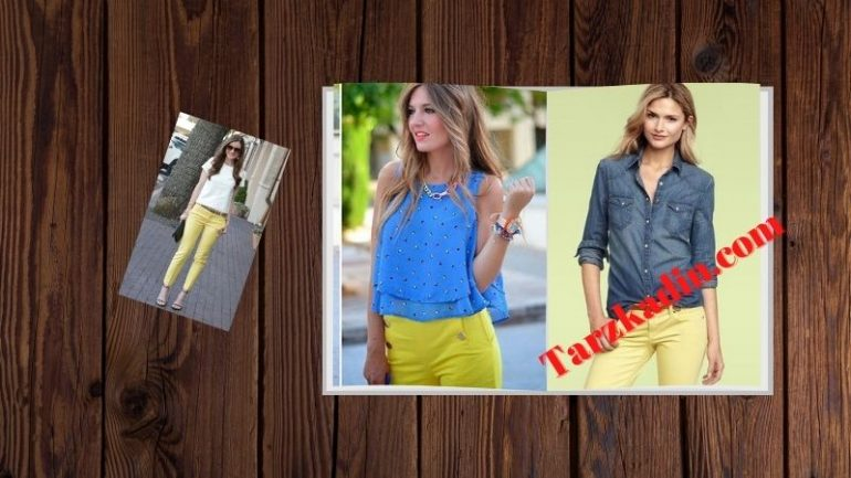 Sarı Pantolon Kombinleri Bayan Stilleri