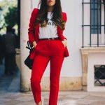 Kırmızı bayan takım elbise spor