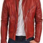 Kırmızı deri ceket erkek