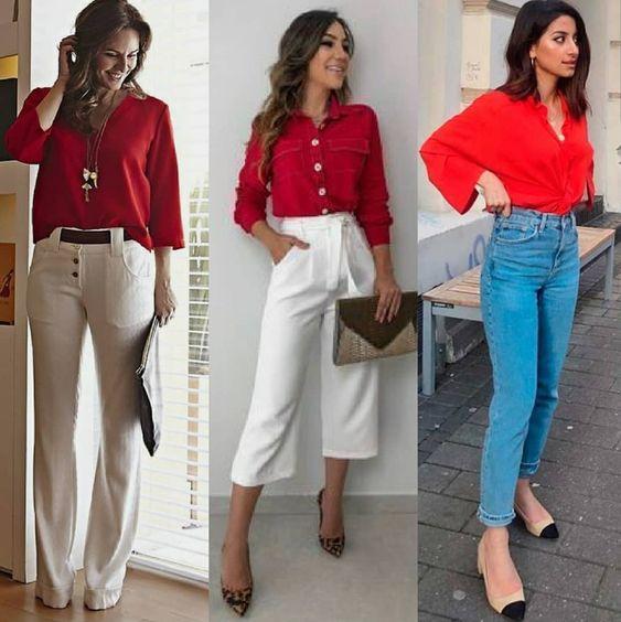 Kırmızı gömlek pantolon kombin bayan