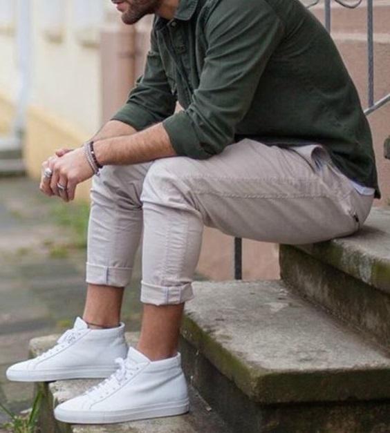 Yeşil gömlek keten pantolon kombinleri erkek