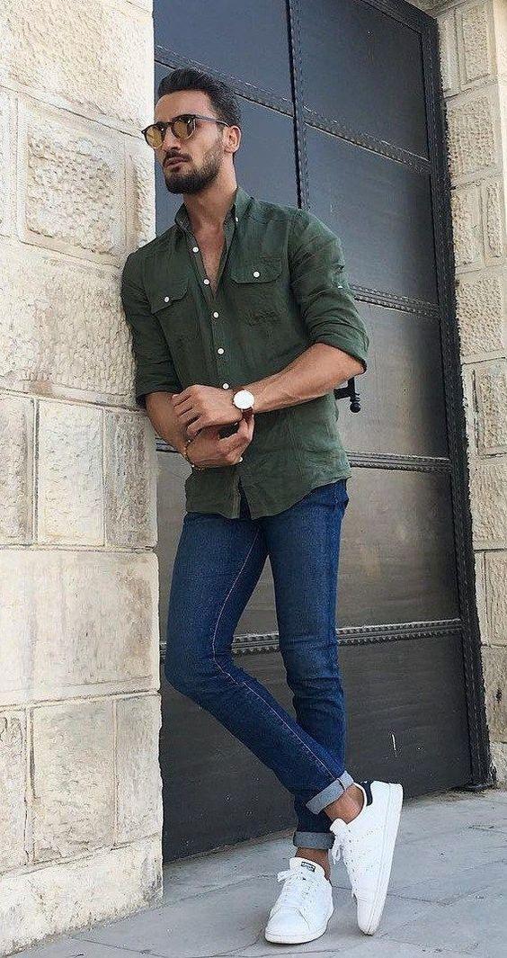 Yeşil gömlek kot pantolon kombinleri erkek