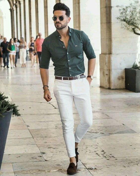 yeşil gömlek beyaz pantolon kombinleri erkek